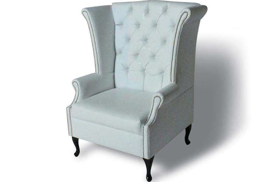 Henry Classic Wing Back Chair White Lux Lounge EFR