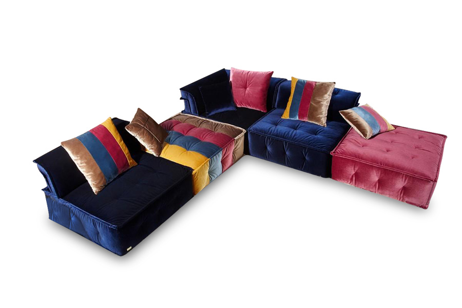 Chloe Multi Colored Fabric Sectional Sofa Hereo Sofa