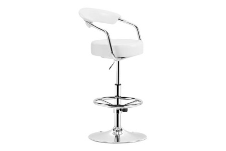 Adjustable Barber Barstool in Luxurious White Leatherette
