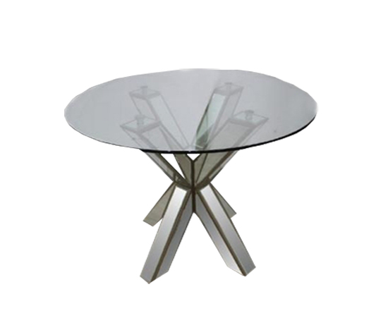 Hancock Mirrored Round Glass Dining Table 30 Top Lux