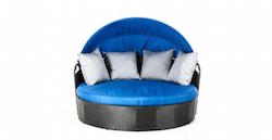 Belize Round Patio Day Bed With Retractable Blue Sun Cover