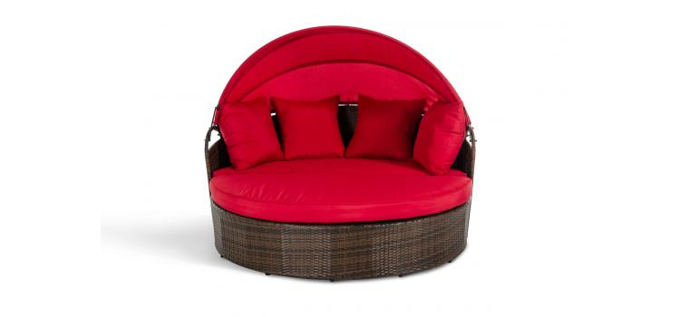 Belize Round Patio Day Bed With Retractable Red Sun Cover