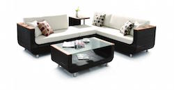U Sectional Patio Set with Coffee Table and Side Table