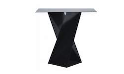 Twist Cocktail Table with Square Glass Top (Black)