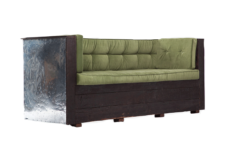 Distress Wood & Zinc Sofa
