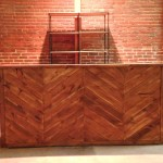 Herringbone 8' Bar and Industrial Open Shelf Back Bar