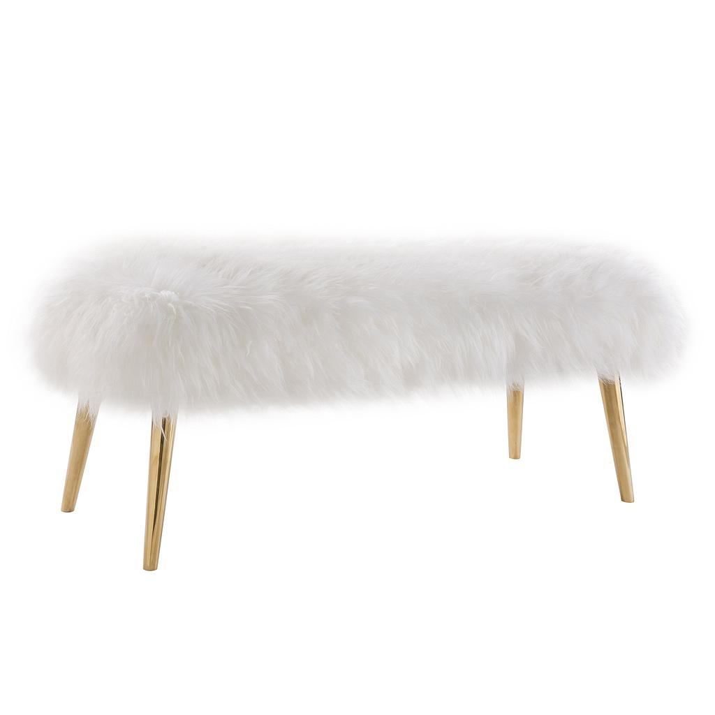 Taylor Puff White Sheepskin Bench With Gold Legs Lux Lounge Efr 888 247 4411