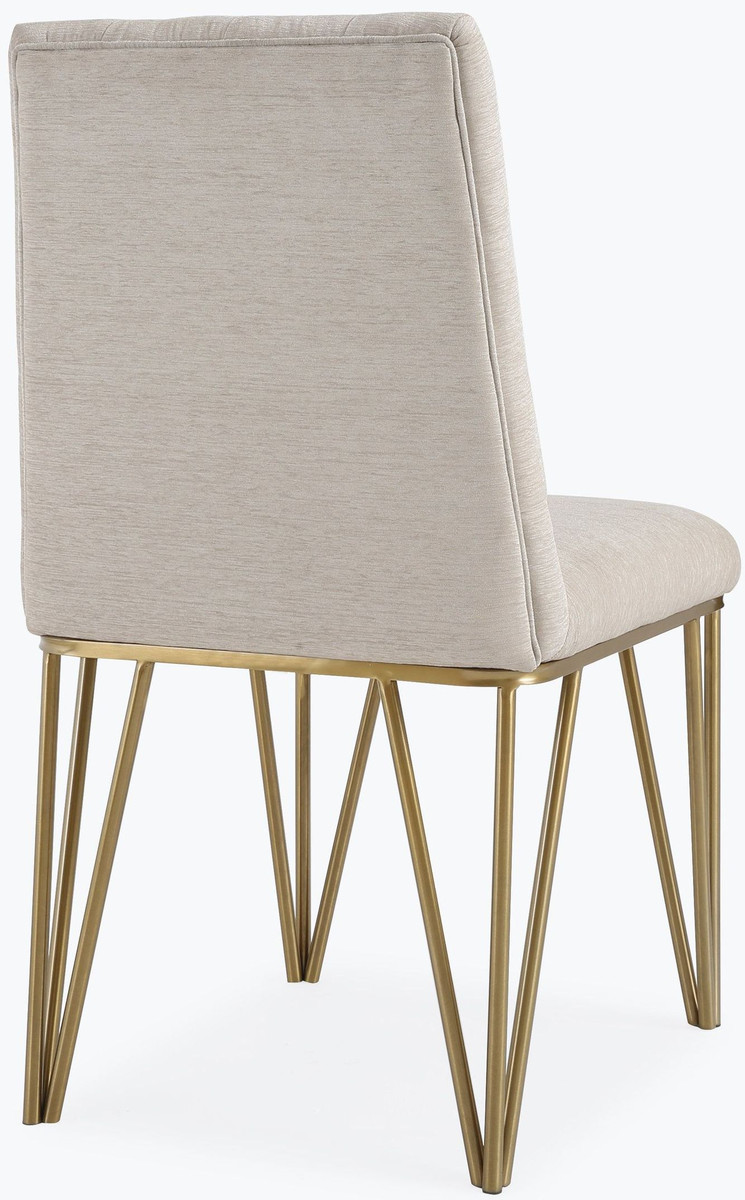 Jeffrey Cream Textured Velvet Dining Chair Lux Lounge